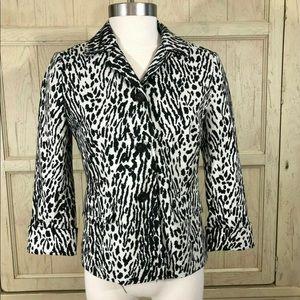 Talbots Kate Fit Snow Leopard Blazer Jacket sz 6
